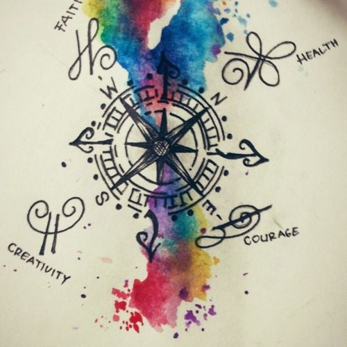 ' Compass' compass design for my latest tattoo. Watercolor Ink Tattooflash Abstract compass artwork