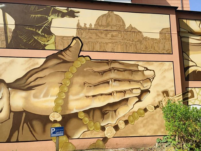 Wallpainting near St. Laurentius Church in Wuppertal // Streetart Christianity Wall Painting Art Street Art Painting