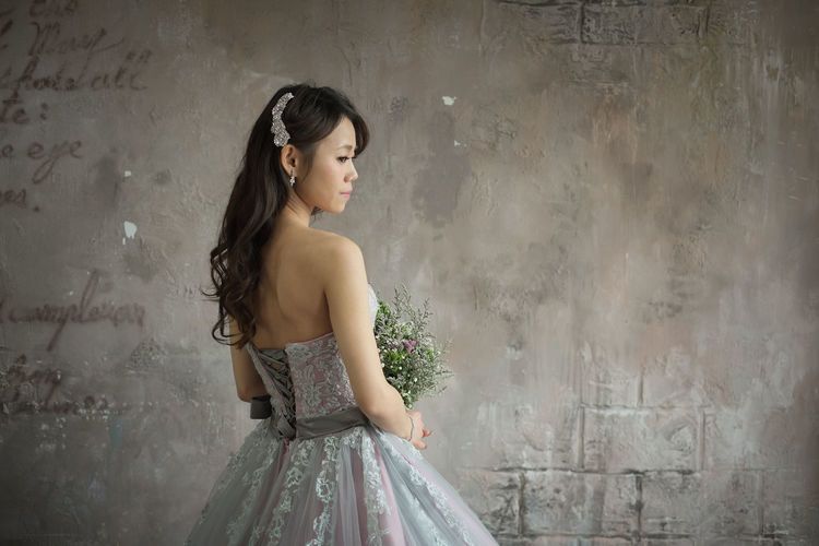 Wedding portrait practice. Portrait Of A Woman Wedding Adult Beautiful Woman Day Fashion Fujifilm Fujifilm_xseries Indoors  One Person People Real People Standing Three Quarter Length Wedding Dress Young Adult Young Women