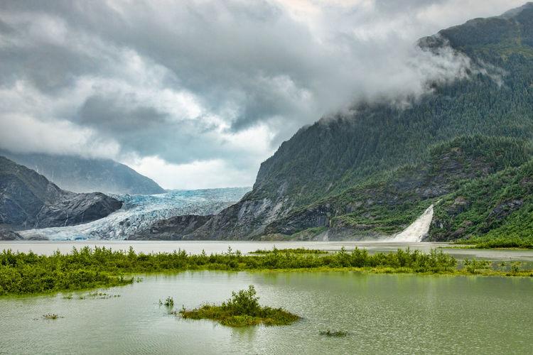 Mountain Water Cloud - Sky Environment Landscape Scenics - Nature Lake Mountain Range Sky Nature Beauty In Nature Wilderness No People Glacier Alaskan Nature Mendenhall Glacier Ice Frozen Nature