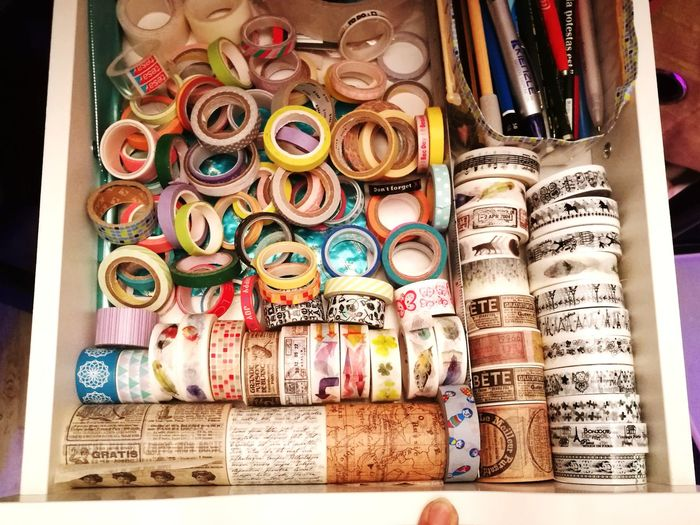 my washitape collection Basteln Mit Papier Washi Tape Reispapier Scrapbooking Journalling Variation Large Group Of Objects Abundance Choice No People Indoors  Multi Colored