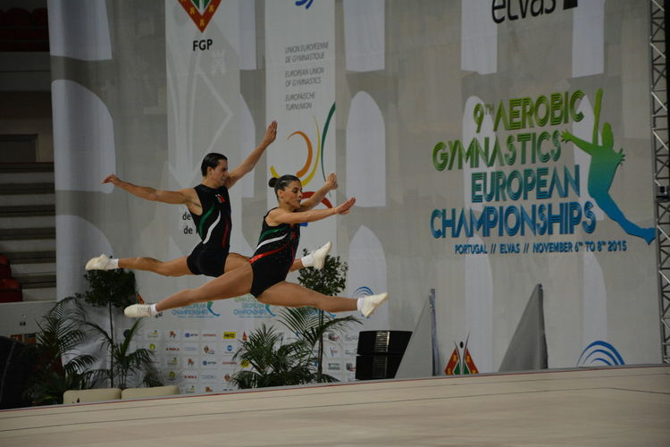 Portugal Aerobiceuropeanchampionships Day Gymnastics Indoors  Jumping Lifestyles People Perfection Perfectmoments Portugueseteam Real People Sport Two People Upintheair Young Adult