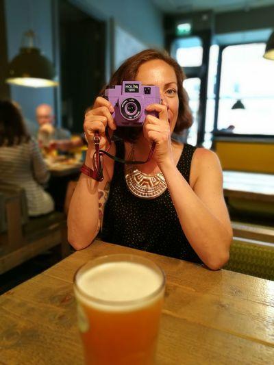 Holga Camera Being Photographed Purple Camera Bar