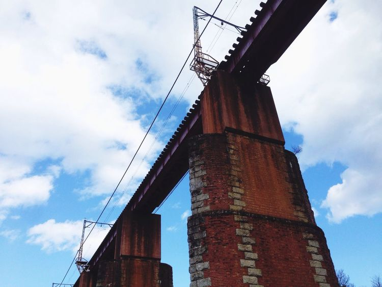 Sky Low Angle View Architecture Built Structure Building Exterior Cloud - Sky No People Outdoors Day Bridge Bridge - Man Made Structure EyeEm Gallery EyeEmNewHere Blue Sky Old Architecture Old Bridge