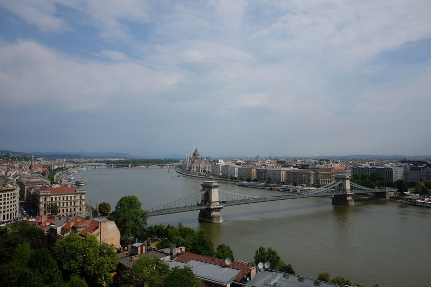 View of Chain Bridge, Houses of Parliament & Margaret Island from Castle Hill Blue Sky White Clouds Budapest Composition Downriver Hungary Parliament Building River Danube River View Tourist Attraction  Trees Capital City Chain Bridge Cityscape Distant View Famous Place Houses Of Parliament Margaret Island No People Outdoor Photography River Sunlight And Shadow Suspension Bridge Travel Destination Water