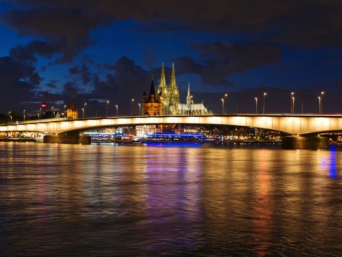 Köln Nights Night Illuminated Architecture Built Structure Sky Building Exterior Water Waterfront Travel Destinations City Cloud - Sky Outdoors