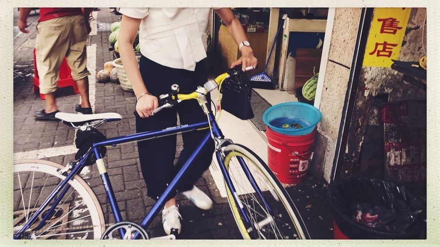 Streetphotography Transfer Print Bicycle Auto Post Production Filter Transportation One Person Mode Of Transportation Day Real People Outdoors City Street Land Vehicle Men Lifestyles Container Midsection Leisure Activity Standing Holding
