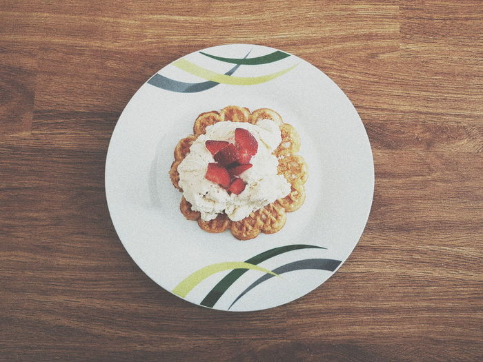 A Sweet Dessert #icecream #strawberry #flowerwaffels Waffles!! Anthropomorphic Face Plate Directly Above Table Food Styling Close-up Food And Drink Dessert Appetizer Unhealthy Lifestyle