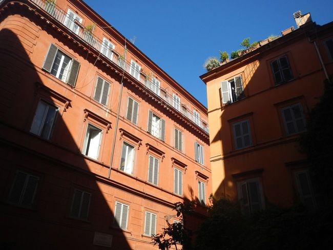 Architecture Window Building Exterior Low Angle View Built Structure Balcony No People Clear Sky Outdoors Residential Building Day Sky City Shadow Light And Shadow Italy Rome