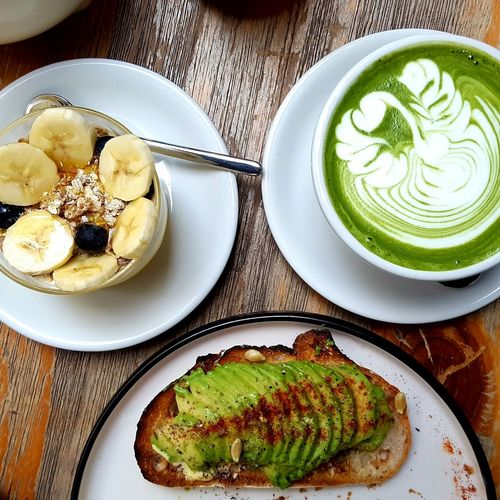 Plate Food And Drink Food Directly Above No People Table Healthy Eating Freshness Close-up Traveling Pupparazzi HongKong Travel Photography MatchaLatte Matcha Matcha Latte Matcha Tea Tea Tealover  Breakfast Müsli Healthy Avocadobread Avocado Green Be. Ready. Food Stories