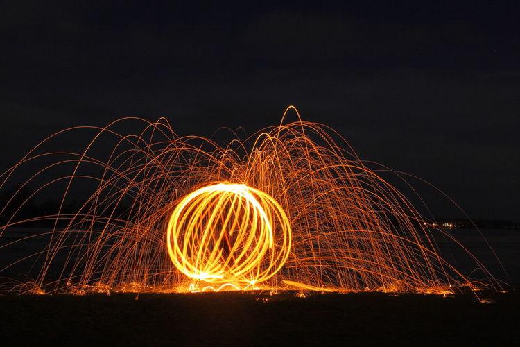 steel wool | night | fire | magic Steelwool Long Exposure Night Port Meadow Light Trails