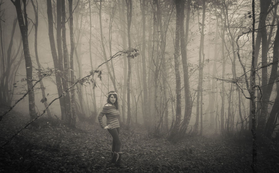 Young woman walking in the mysterious forest with fog Dark Gothic Mystic Plants Weather Woman Wood Beech Black And White Environment Fog Foggy Forest Girl Land Mystery Nature Non-urban Scene One Person Portrait Standing Tranquility Tree Tree Trunk WoodLand