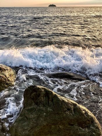 Autumn Sunset Colours Beautiful Sea Wave Nature Beauty In Nature Beach Sunset Water Motion Rock - Object Scenics Horizon Over Water Outdoors Travel Destinations No People Breaking Power In Nature Tranquility Day Vacations Sky The Week On EyeEm Oseto Japan