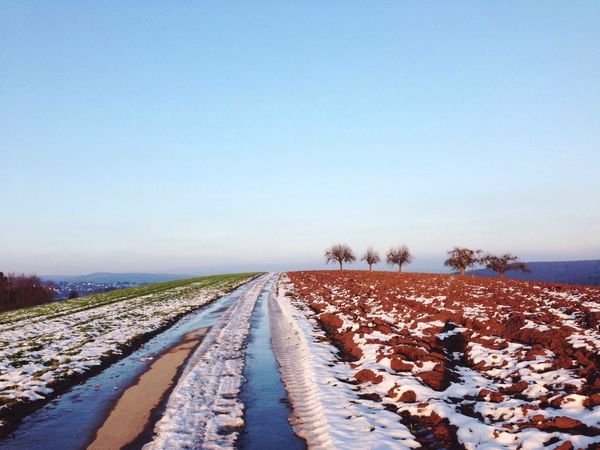 Threefold soil Horizon Over Land Landscape Winter Is Over Melting Snow Soil Beautiful Nature