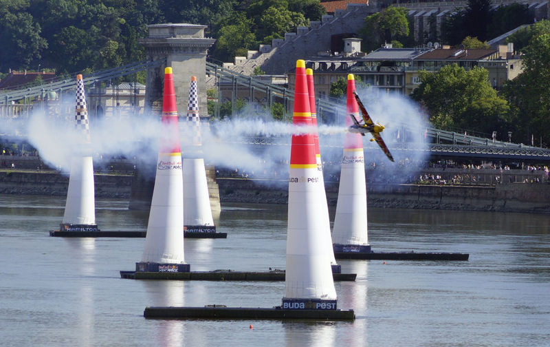 Red Bull Air Race Budapest 2017 Air Plane Air Race Architecture Building Exterior Built Structure Day Flight Nature No People Outdoors River Sky Spraying Tree Water
