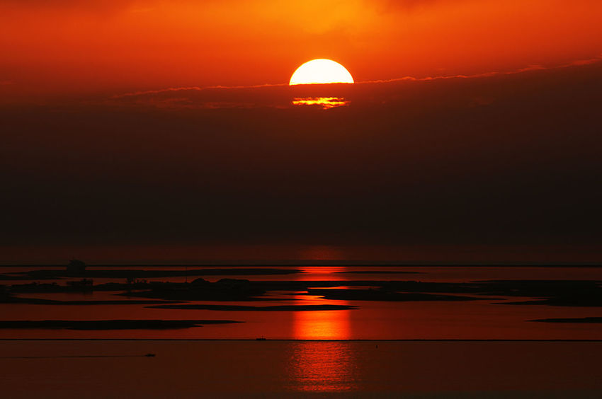 Orange Sunset of Dubai Dubai Sunset Nature Orange Color Outdoors Sea Sky Sun Sunset Of Dubai UAE UAE , Dubai United Arab Emirates