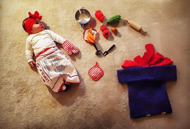 High Angle View Wool Knitting Needle Baby Baby Girl Baby Cooking ❤ Baby Cook Kitchen Chef Cheflife Carpet Art Baby Photography Baby Art