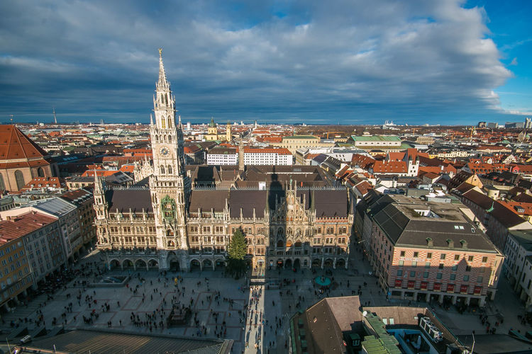 City Hall in Munich, Germany Bavaria City Holidays Marienplatz München München,Germany Square Xmas Aerial View Architecture Bavarian Building Building Exterior Built Structure christmas tree City Cityscape Cloud - Sky Clouds Europe Festive Germany High Angle View Residential District Travel Destinations