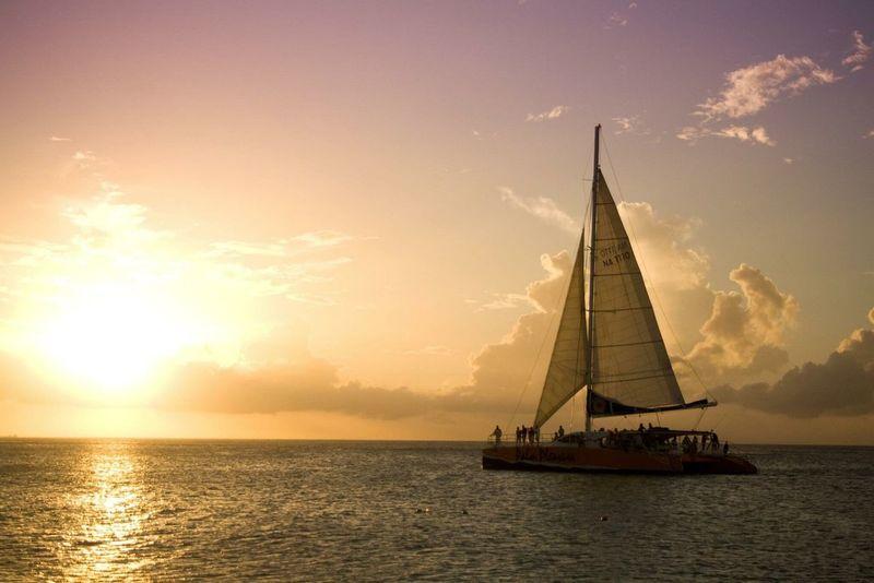 Aruba, honeymoon, no internet, sail, sundown