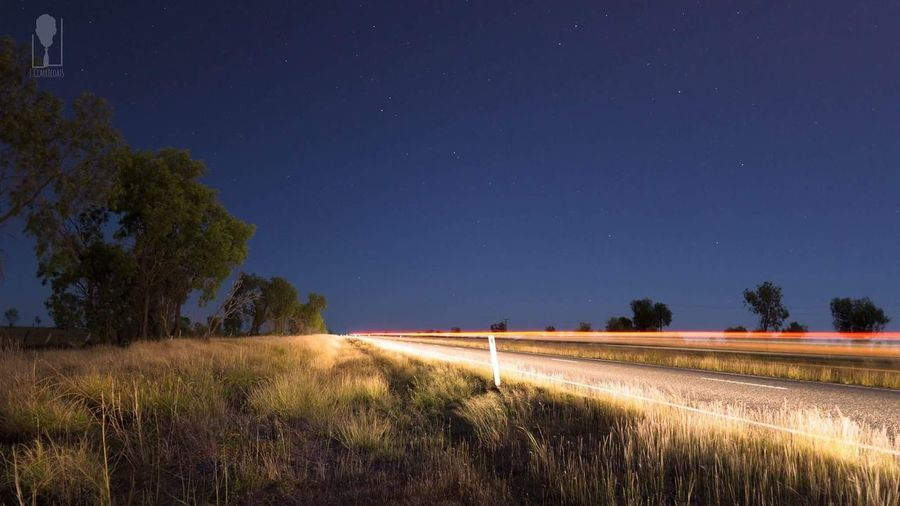 Road Light Trails Australia Emerald Qld Outdoors At Night Nightphotography Cars Grass Lonely Isolated Speed The Great Outdoors With Adobe