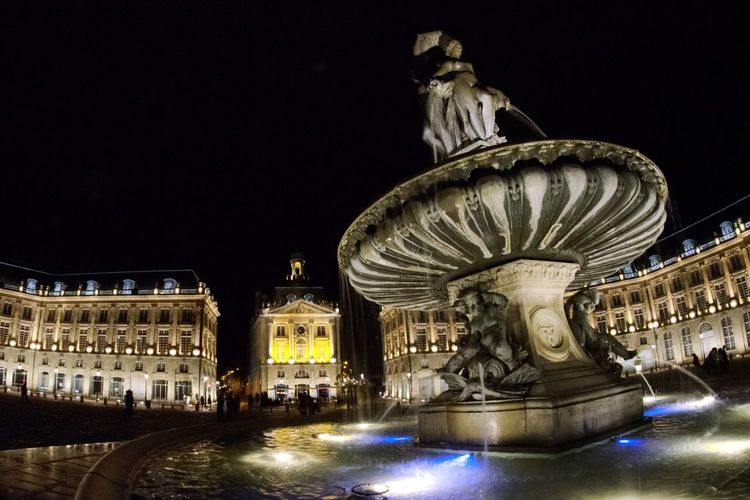 Bordeaux by night Bordeaux Fisheye Architecture Place Fountain Night City Lights