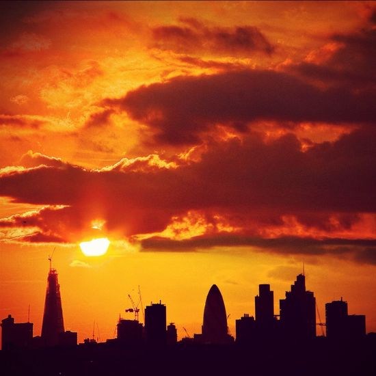 Sunset Silhouettes Cityscapes City London