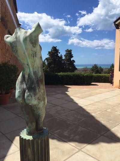 Sculpture Sunlight Statue Cloud - Sky Sky View Sea And Sky Roman Empire Roman Ruins Italy Sicily Sicilia