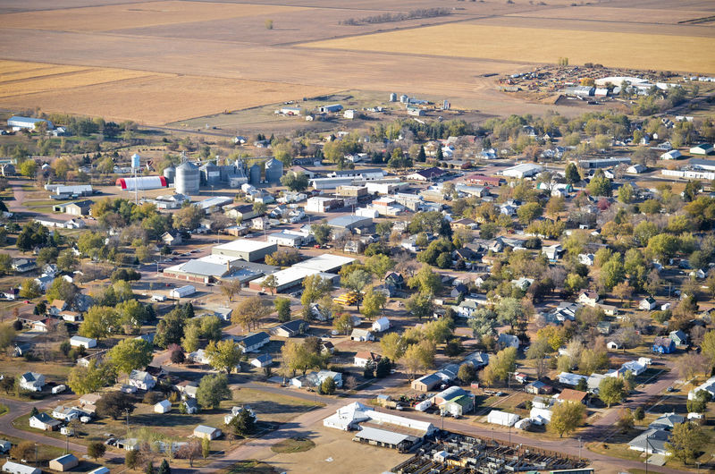 High Angle View Aerial View Aerial Aerial Photography Aerial Shot City Town Small Town Village Neighborhood Houses Homes Main Street Trees Fields Farming Agriculture MidWest South Dakota Residential District Landscape Cityscape