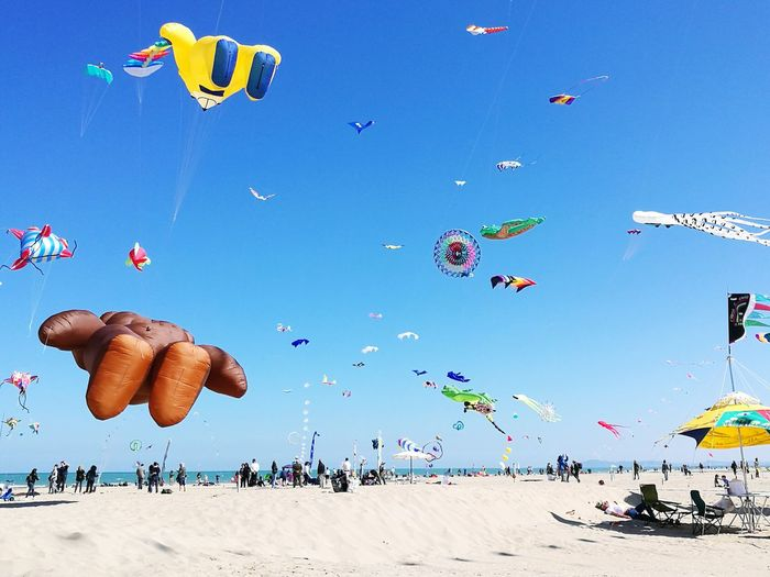 People Flying Kites At Beach Against Clear Blue Sky