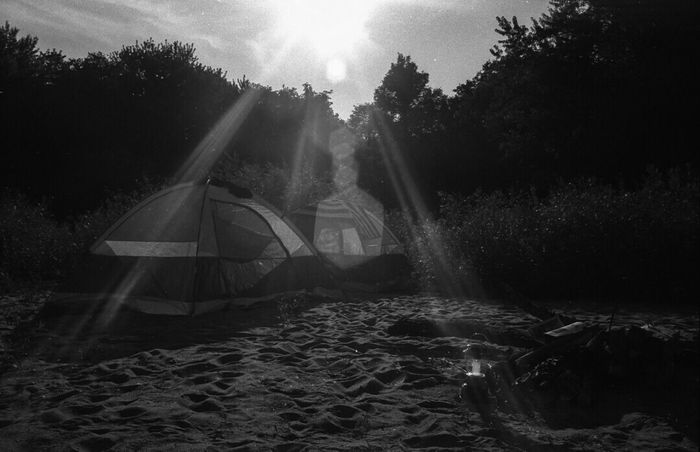 Wisconsin River Camping (film). Blackandwhite Wisconsin 35mm Filmisnotdead Nikon Nikonos Kodak Tmax Analog Film