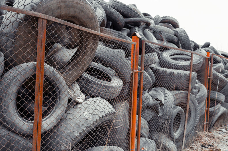 Old car tires in a landfill
