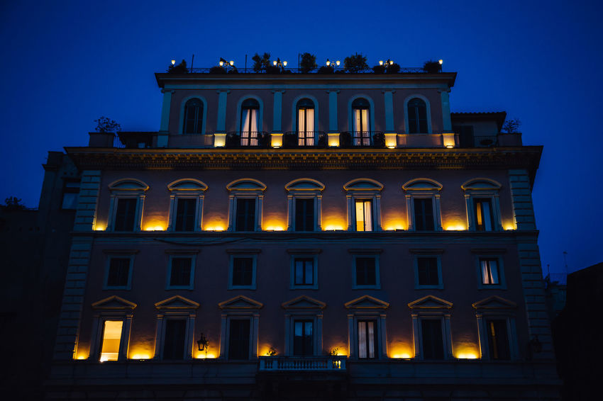 City Life Pantheon Piazza Della Rotonda Rome Architecture Blue Building Exterior Built Structure City Clear Sky History Illuminated Low Angle View Night Outdoors Urban Window