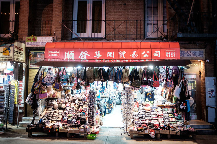 Chinatown New York Architecture Building Exterior Built Structure Communication Day Market Outdoors Real People Retail  Store Text