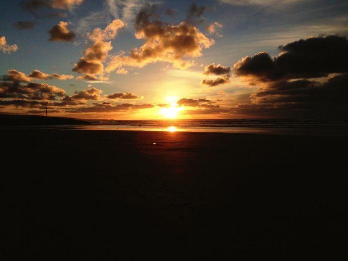 Sunset Sea Beach Cornwall Bude Sun Sand First Eyeem Photo