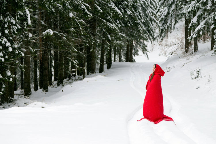 Woman Wearing Red Hooded Cloak Amidst Trees On Snowy Field