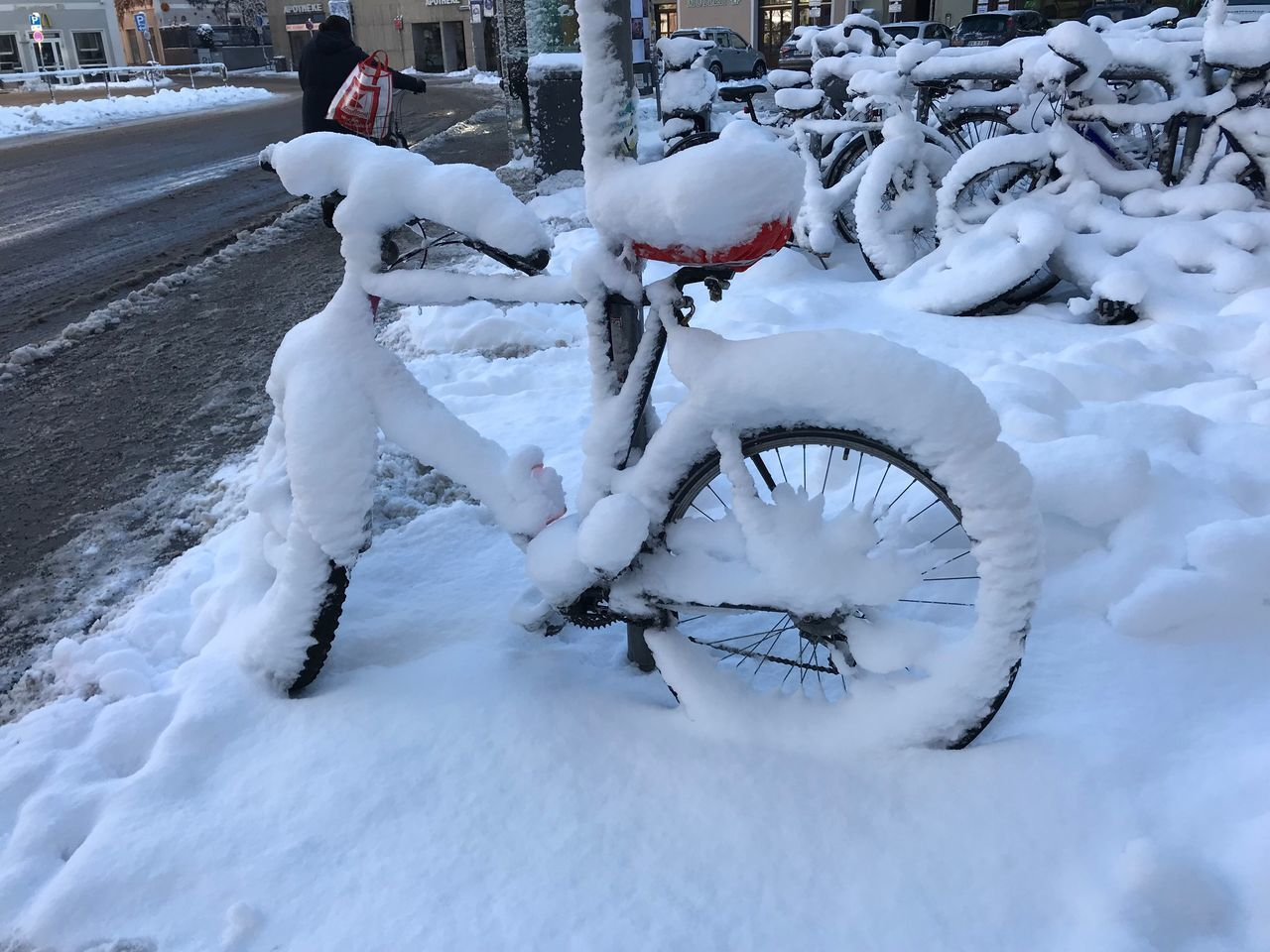snow, winter, cold temperature, covering, transportation, white color, mode of transportation, land vehicle, day, bicycle, nature, frozen, no people, stationary, deep snow, outdoors, field, beauty in nature, land, extreme weather, wheel, snowing