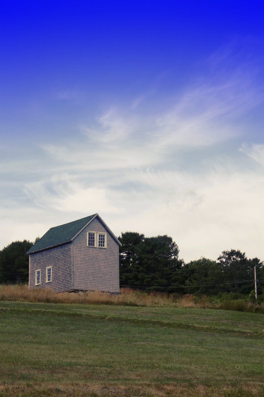 field, grass, built structure, sky, no people, house, architecture, abandoned, tranquility, outdoors, day, building exterior, landscape, farmhouse, nature, barn, tree, beauty in nature