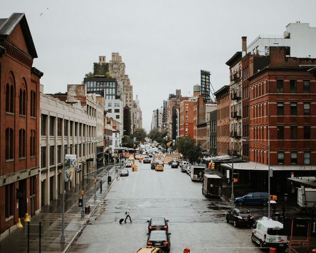 After the rain Crossing Red Light Yellow Cab Yellow Taxi Rainy Day New York New York City NYC NYC Photography Building Exterior City Architecture Built Structure Motor Vehicle Car Mode Of Transportation Clear Sky Residential District City Street City Life Street Building Road Land Vehicle