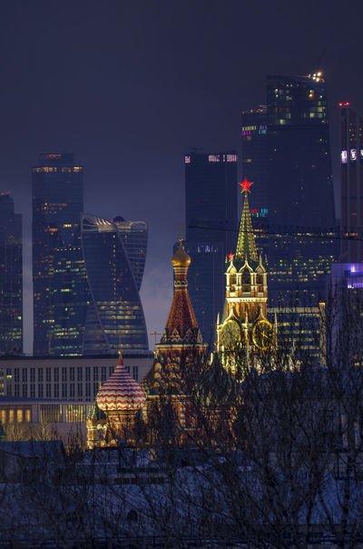 Russia, Moscow, Kremlin, Moscow city, Spasskaya tower, St. Basil's Cathedral, Architecture Building Exterior City City Life Cityscape Illuminated Modern Moscow Moscow City Night No People Outdoors Russia Sky Skyscraper Spasskaya Tower St. Basil's Cathedral Tower Travel Destinations Tree Urban Skyline