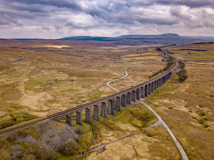 Aerial view of Ribblehead Viaduct, North Yorkshire, UK Ribblehead Rural Aerial Photography Aerial View Cloud - Sky Day Idyllic Land Landscape Landscapes Mountain Nature No People Non-urban Scene Outdoors Railing Railway Ribblehead Viaduct Ribbleheadviaduct Rural Scene Scenics - Nature Sky Tranquil Scene Tranquility Viaduct