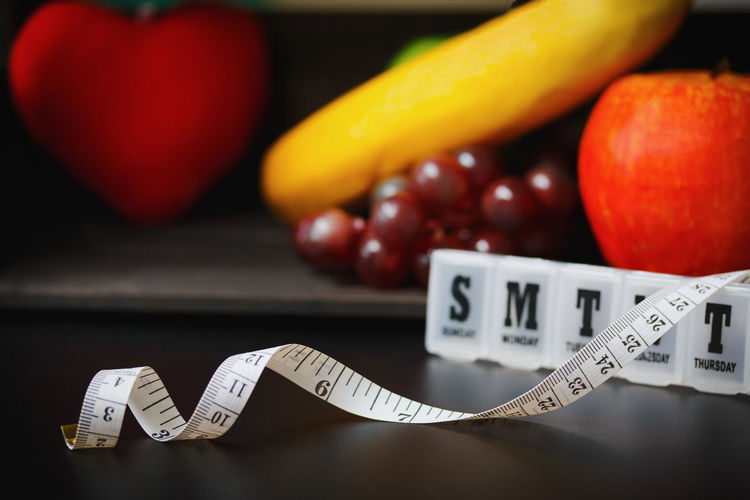 Apple Banana Diet Eating Home Life Measuring Vegetarian Food Fresh Freshness Fruit Health Healthy Healthy Eating Heart Limming Nutrition Table Tape Vegetable Vitamin Weightloss Weights Wooden