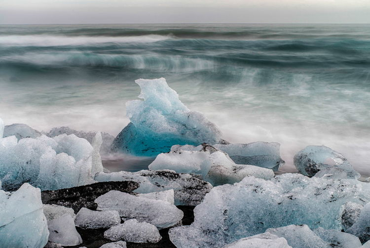 Beach Beauty In Nature Close-up Cold Cold Temperature Day Diamond Beach Frozen Horizon Over Water Ice Ice Iceberg Iceland Idyllic Nature No People Ocean Outdoors Scenics Sea Sky Tranquil Scene Tranquility Water Wave