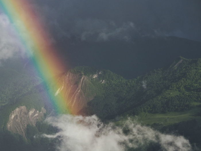 Low angle view of rainbow against cloudy sky