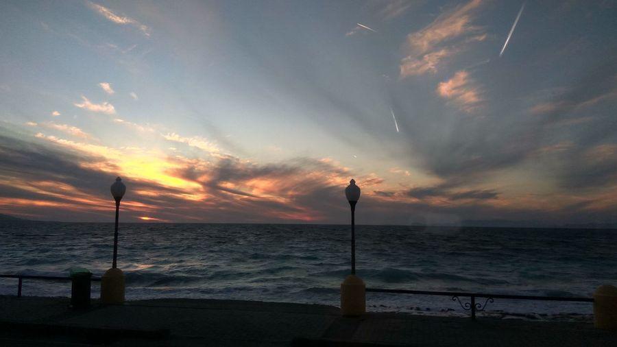 Water Sea Sunset Beach Idyllic Dramatic Sky