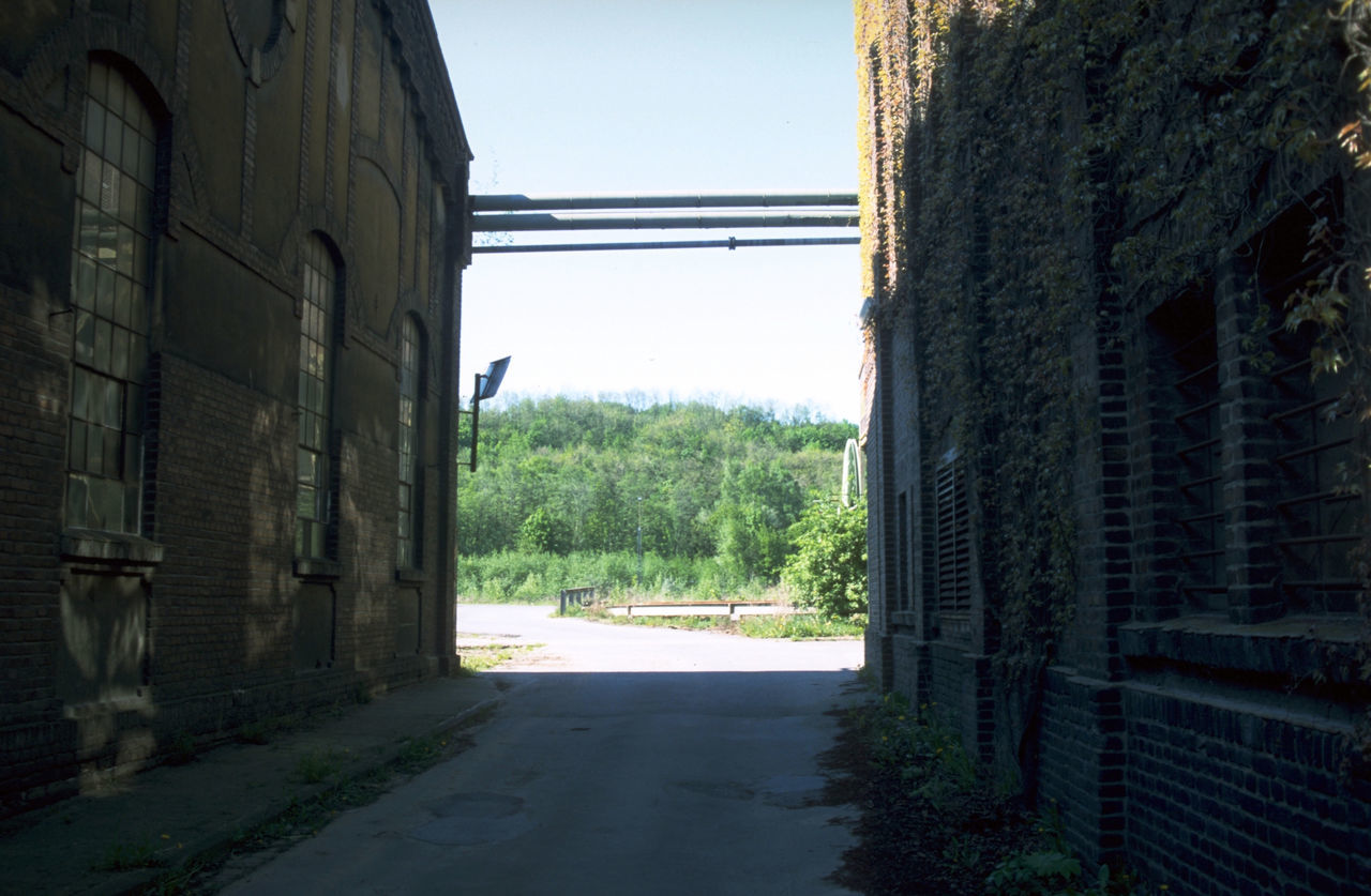 EMPTY ROAD BY BUILDINGS AGAINST SKY