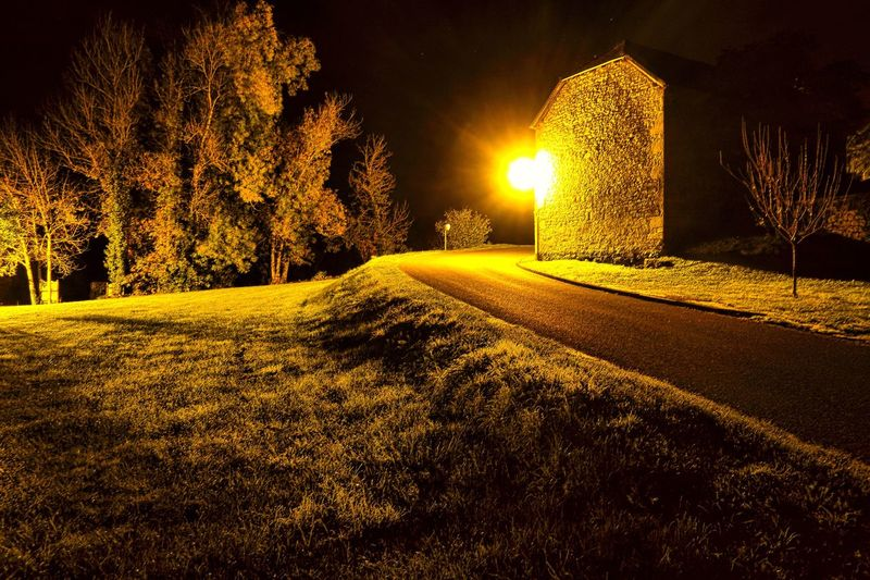 Tree Night Illuminated No People Nature Outdoors Beauty In Nature Tranquility Field Tranquil Scene Building Exterior Built Structure Grass Scenics Growth Sky Saint Cere France