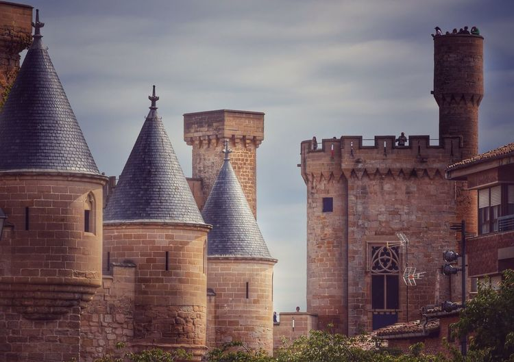Castle Royal Palace of Olite (Navarra) Architecture Built Structure Building Exterior Sky History Outdoors Day People Castle Medieval Medieval Castle Medieval Architecture Tower Wall Stone Wall Landscape Town Olite Navarra