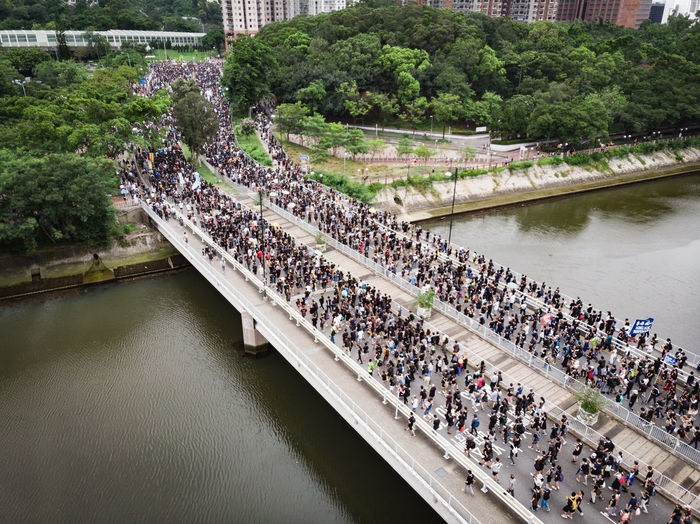 High angle view of people by river
