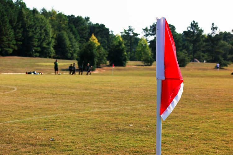 Clear Sky Countryside Day Domestic Animals Flag Focus On Foreground Green Group Of People Identity Landscape National Flag Outdoors Remote Soccer Field Solitude Spectator Sport Symbol The Color Of Sport Tranquil Scene Tranquility Tree