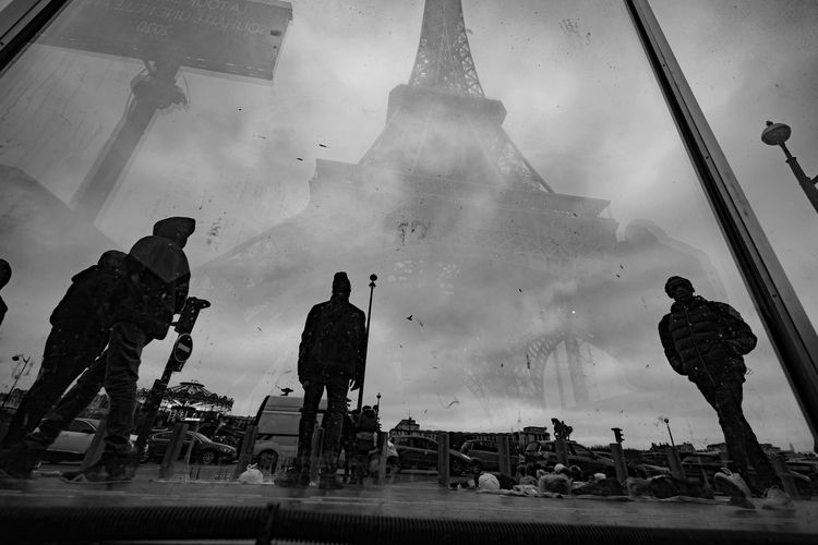 People working against sky